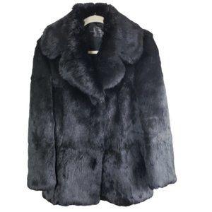 Echt Pelz Black Rabbit Fur Coat Jacket Size 8